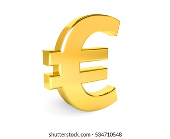 Golden symbol of euro. Collection. 3d rendering