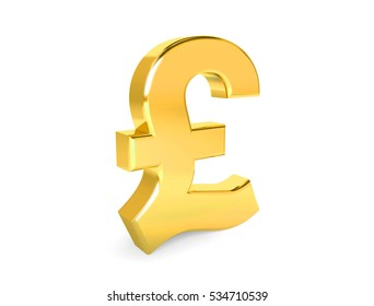 Golden symbol of pound. Collection. 3d rendering