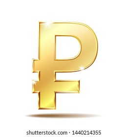 Golden symbol of russian ruble isolated on white background. Financial, business and investment concept.  illustration