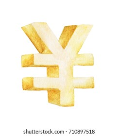 Golden symbol of yen, Japanese yen Sign, Watercolor illustration painting isolated on white background.