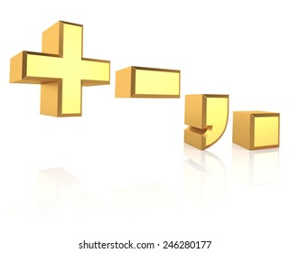 Golden symbols isolated on white background. 3d render