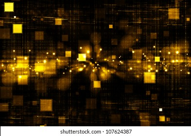 golden tech square abstract background