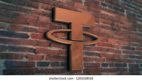 Golden Tether Coin Symbol 3D Illustration of Stone Wall Background. Golden Tether Coin Logo. Tether Coin Sign. 3D Rendering.