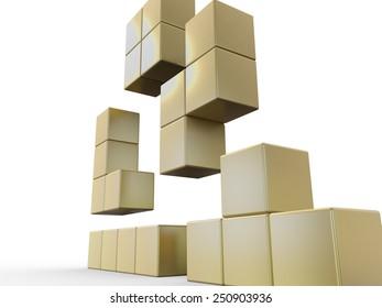 Golden Tetris Blocks 3D