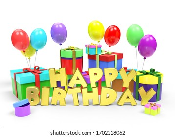 Golden text Happy Birthday among a lot of bright multi colored gift boxes and festive balloons on white background. 3D illustration