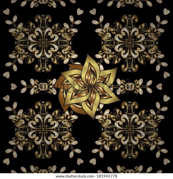 Golden textile print. Islamic design. Seamless pattern oriental ornament. Floral tiles. Golden pattern on black background with golden elements.