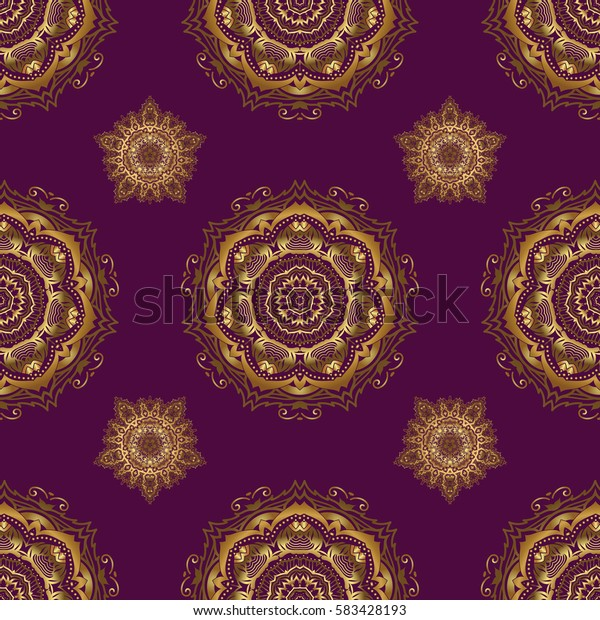 Golden texture, gold lines and grids seamless pattern, curved metal, foil background with 3D visual effects on a purple background.