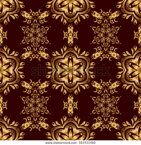 Golden texture on a brown background. Seamless pattern with gold ornament.
