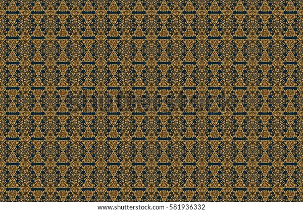 Golden texture. Raster seamless pattern with gold gradient on blue background. Geometric ornament with golden elements. Seamless geometric pattern. Abstract geometric sketch.