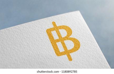 Golden Thai Baht Money 3D Illustration Symbol Write On The Paper. Thai Baht Money Logo On The Paper. Thai Baht Money Logo. 3D Rendering.