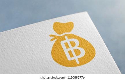 Golden Thai Baht Money Bag 3D Illustration Symbol Write On The Paper. Thai Baht Money Bag Logo On The Paper. Thai Baht Money Bag Logo. 3D Rendering.