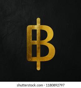 Golden Thai Baht Money Write On The Dark Wall Background. Golden Thai Baht Money Logo. 3D İllustration.