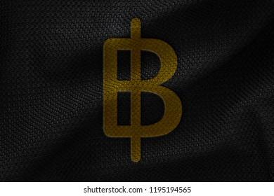 Golden Thailand Baht Money 3D Illustration Symbol Write On The Black Fabric. Thailand Baht Money Logo On The Fabric. Golden Thailand Baht Money Logo. 3D Rendering.
