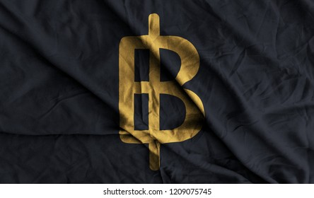 Golden Thailand Baht Money 3D Illustration Symbol Write On The Black Fabric. Golden Thailand Baht Money Logo. 3D Rendering.