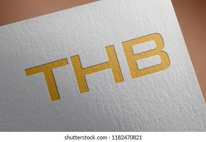 Golden Thailand Baht Money. BHT letter 3D Illustration Write On The Paper. Thailand Baht Money Letter On The Paper.