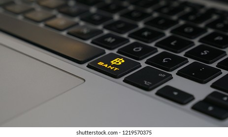 Golden Thailand Baht Money Logo Computer Keyboard Button Key. 3D Illustration Of Golden Thailand Baht Money Logo. 3D Rendering.