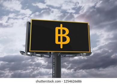 Golden Thailand Baht Money Logo On Billboard And Sky Background. 3D Illustration Of Golden Thailand Baht Money Logo. 3D Rendering.
