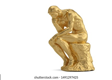 Golden thinker  isolated on white background 3D illustration.