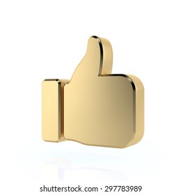 Golden thumbs up sign. 3d render. Isolated on white background, social media concept.