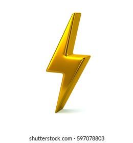 Golden thunderbolt icon 3d illustration isolated on white background