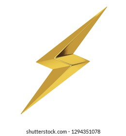 Golden Thunderbolt Lighting Icon on a white background. 3d Rendering