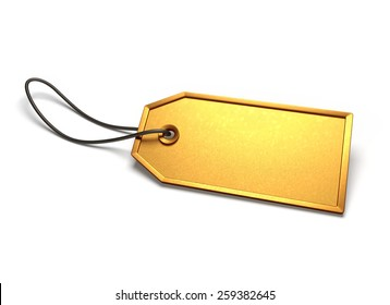 Golden ticket. Empty gold badge with string attached, isolated on white