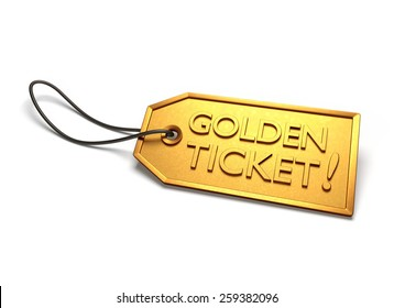 Golden ticket. Gold badge with string attached, isolated on white
