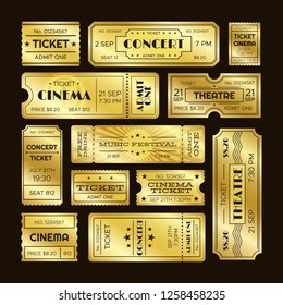 Golden tickets. Admit one gold movie ticket set. Vip party theatre concert show premiere or cinema pass entry scratch coupon retro luxury  isolated templates symbols