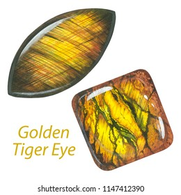 Golden Tiger Eye. Watercolor gems. Sacral chakra stones and healing crystals isolated on white background