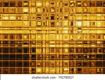 Golden tile mosaic, luxurious gold background