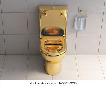 Golden toilet bowl in wc. 3d illustration