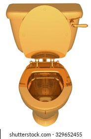 golden toilet with the lid open