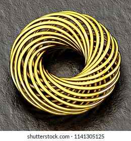Golden torus object on reflective concrete surface. 3d illustration