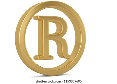 Golden trademark symbol isolated on white background 3D illustration.