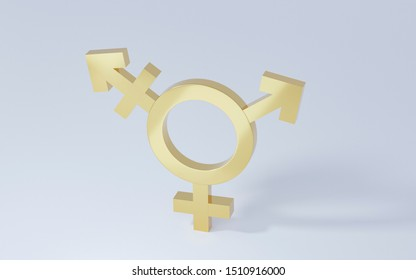 Golden transgender symbol, Abstract Male and Female 3d icon homosexuality symbols and signs on white background. Concept of choice or gender confusion or dysphoria. 3d illustration