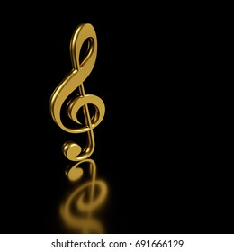Golden treble clef. 3D rendering.