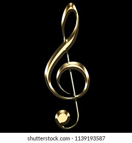golden treble clef sign on black background - key sol - music symbol