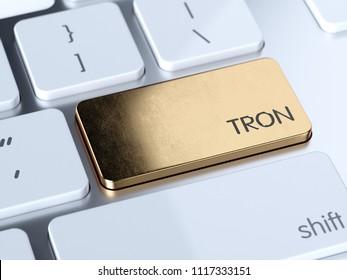 Golden Tron computer keyboard button key. 3d rendering illustration