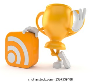 Golden trophy character with RSS icon isolated on white background. 3d illustration