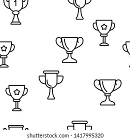 Golden Trophy Cup Color Icons Seamless Pattern. Competition Trophy, Contest Award Linear Symbols Pack. Success, Victory Metaphor, Sports Achievement, Career Goal. Illustration