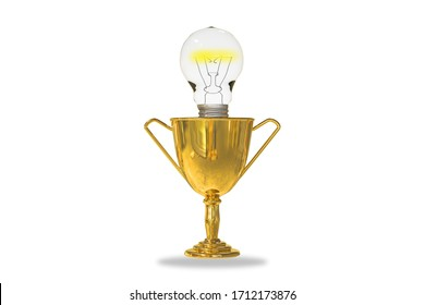 Golden trophy cup isolated on white background with a light bulb inside. Business or Leadership or creativity idea or award ceremony or succession planning or Fast Company concept. 3D illustration