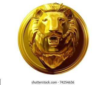 golden Trophy of a Lion Head