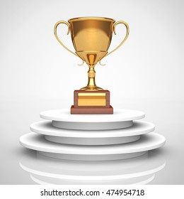 Golden Trophy over Podium on a white background. 3d Rendering
