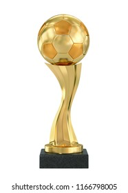 Golden trophy soccer ball isolated on white. 3D rendering with clipping path