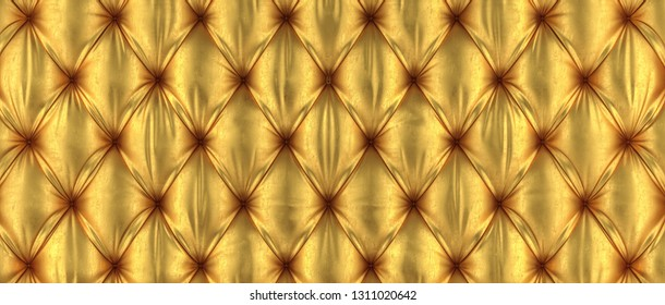 golden tufted background 3d rendering image