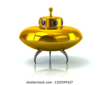 Golden ufo space ship standing on the ground 3d illustration