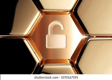 Golden Unlock Icon in the Honeycomb. 3D Illustration of Luxury Golden Lock, Secure, Unlock, Unlocked Icons on Gold Geometric Pattern.