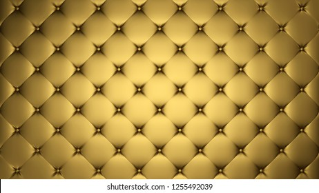 Golden upholstery. Leather or silk background. Capitone. High resolution.