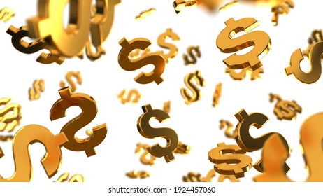 Golden usd dollar signs are falling like rain on the white background. 3D illustration. Financial success.