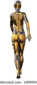 Golden Used Metallic Android Female Futuristic Artificial Intelligence 3D Illustration